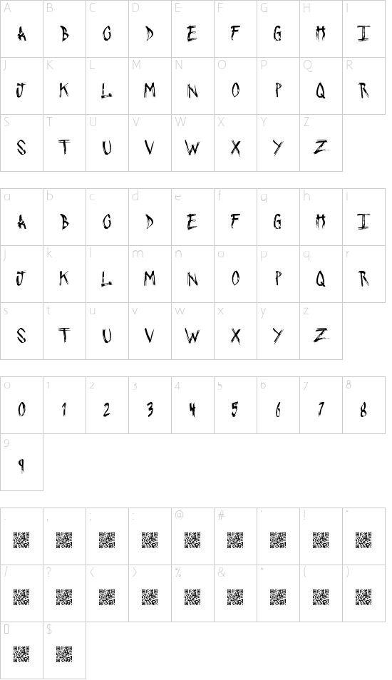 PushingSticks font character map