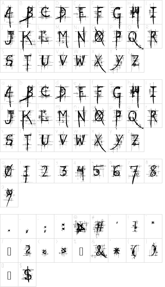 STREET@GOTHIC font character map