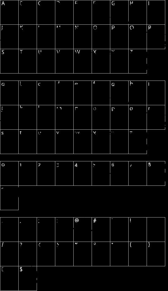 Scrapbook Scribblers font character map