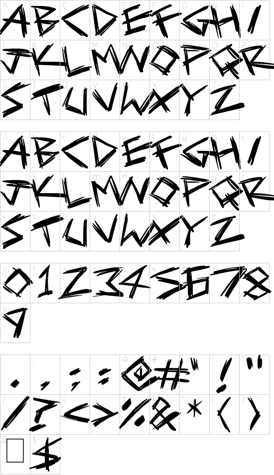 Serial Killers font character map