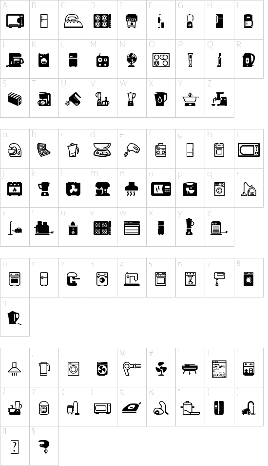 Home Appliances font character map