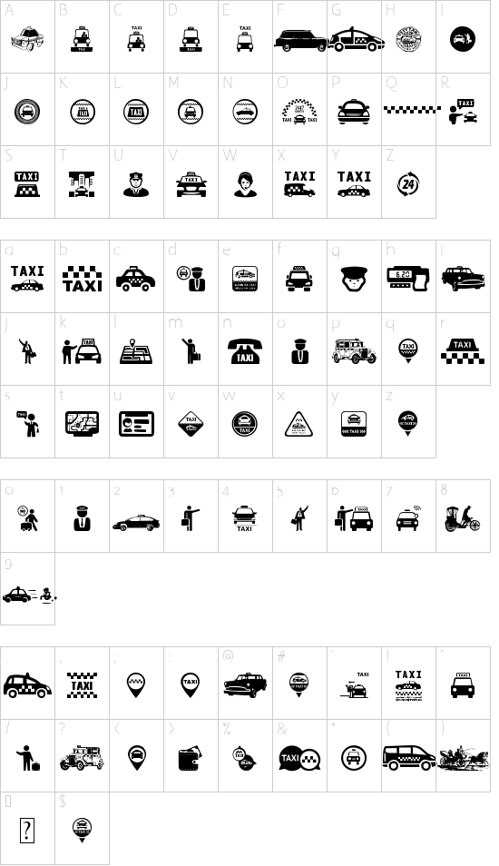 Taxi font character map