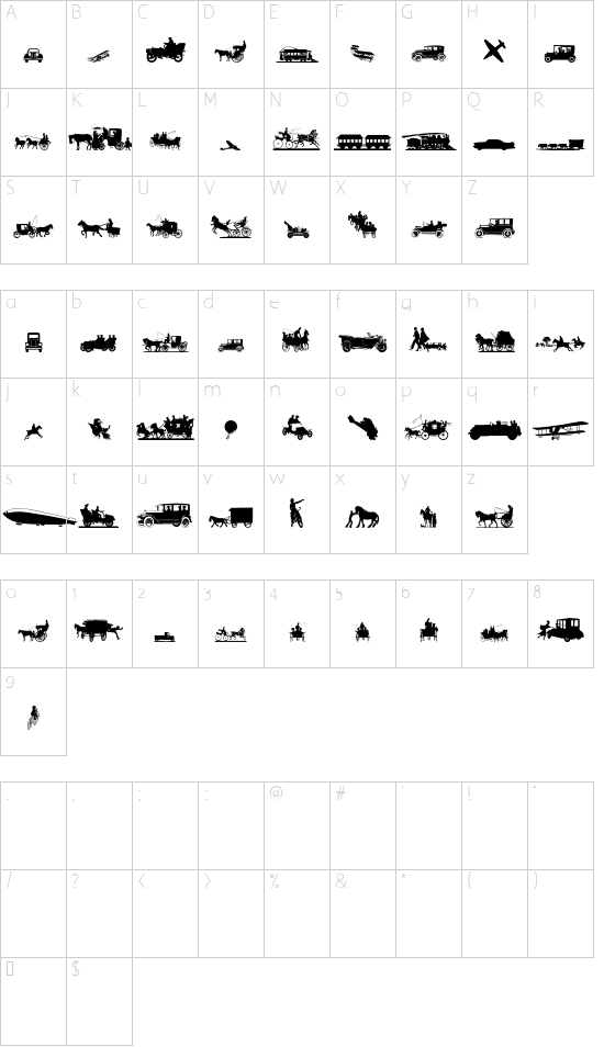 Transportation Dings font character map