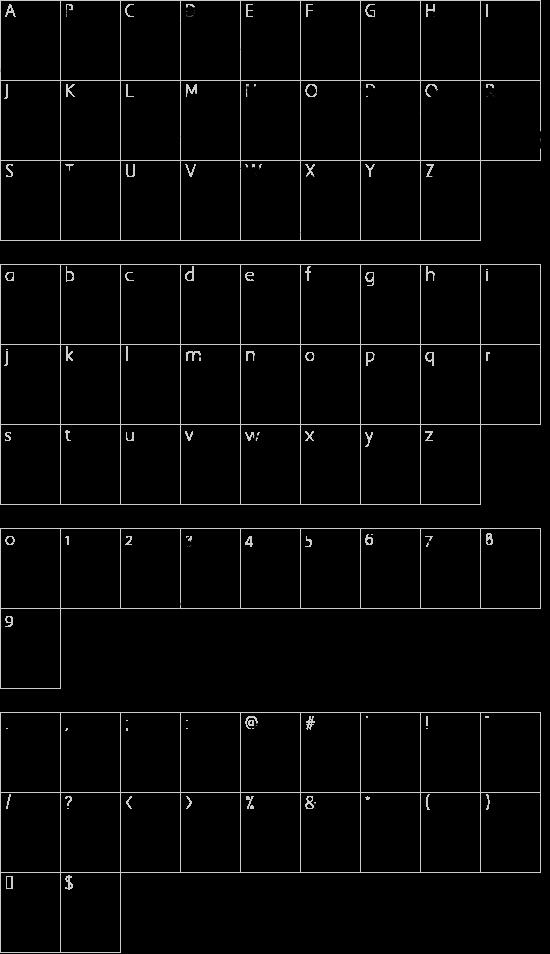 Penball Wizard font character map