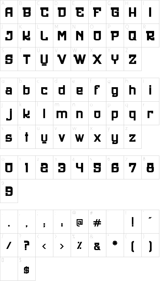 UltraStyle1312 font character map