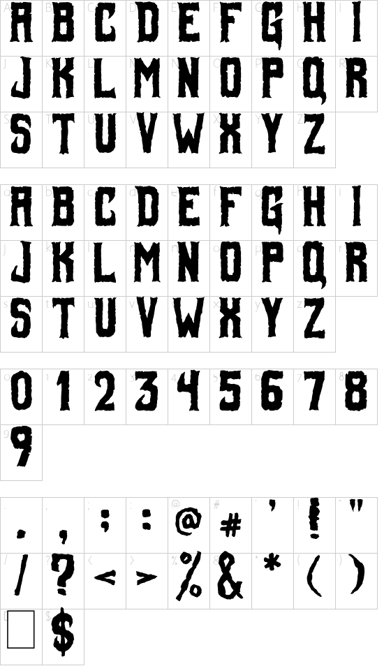 Foul Fiend font character map