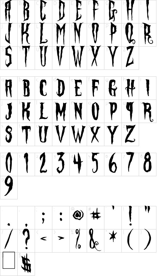 Phantom Fingers font character map