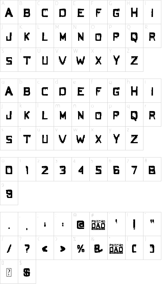 Psycho Dad font character map