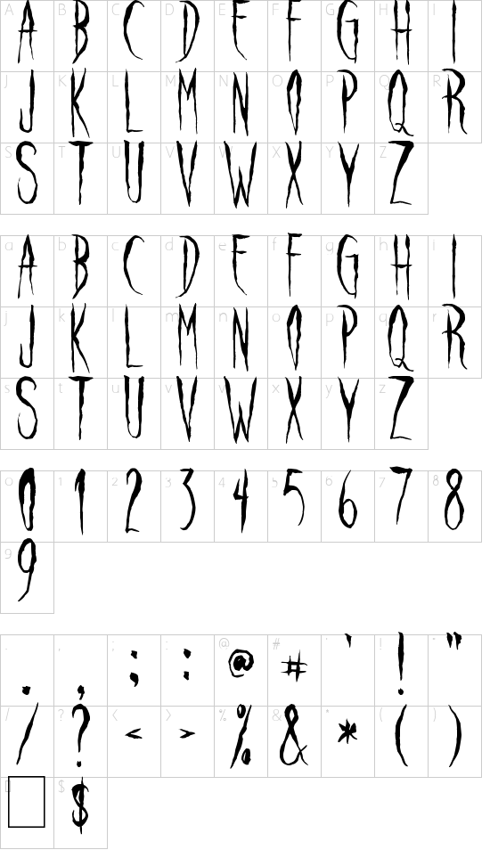 Raven Song font character map