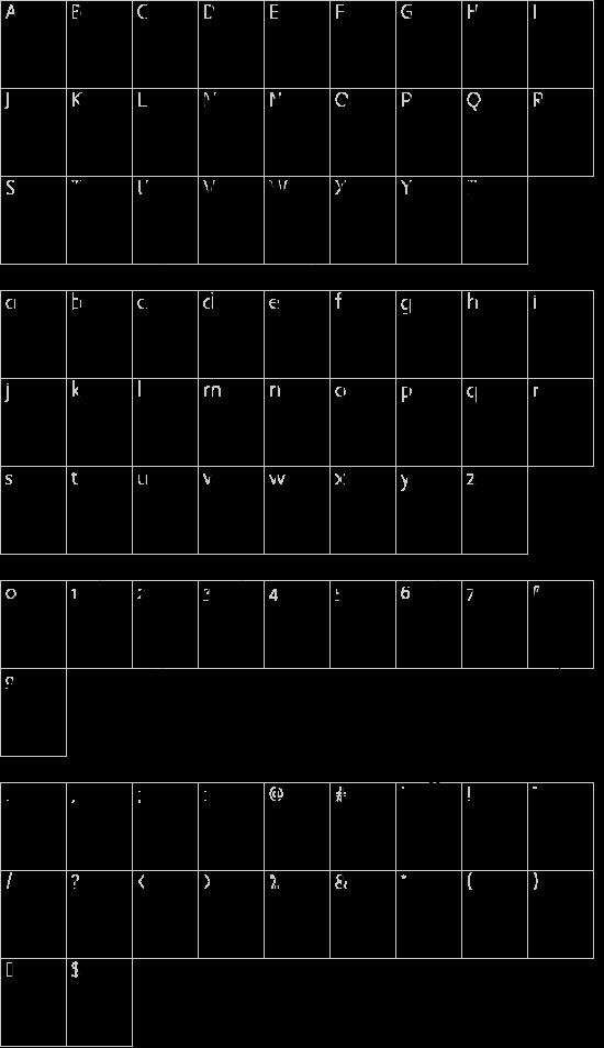 Super Weird font character map