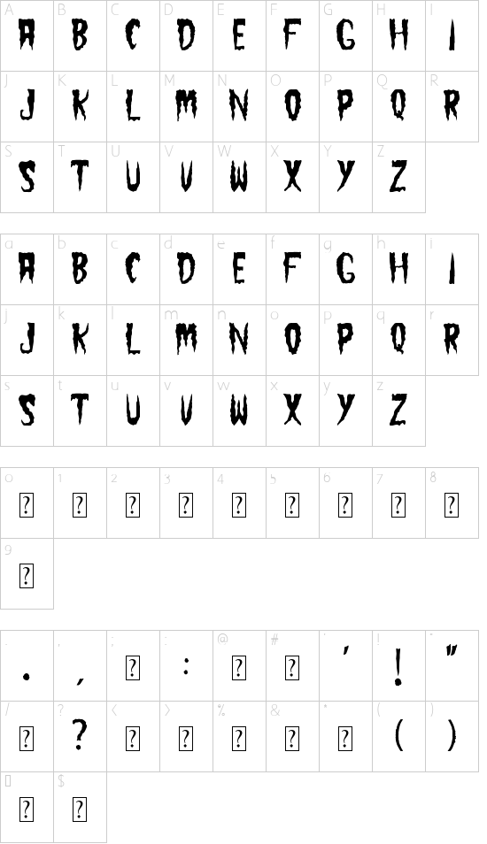 The Cramps font character map