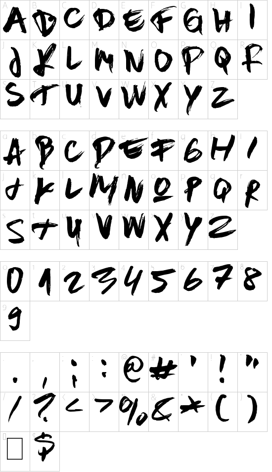 Constructor Tie font character map