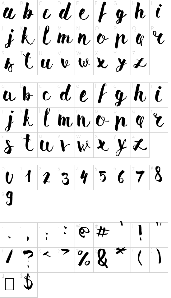 Pomah Type font character map