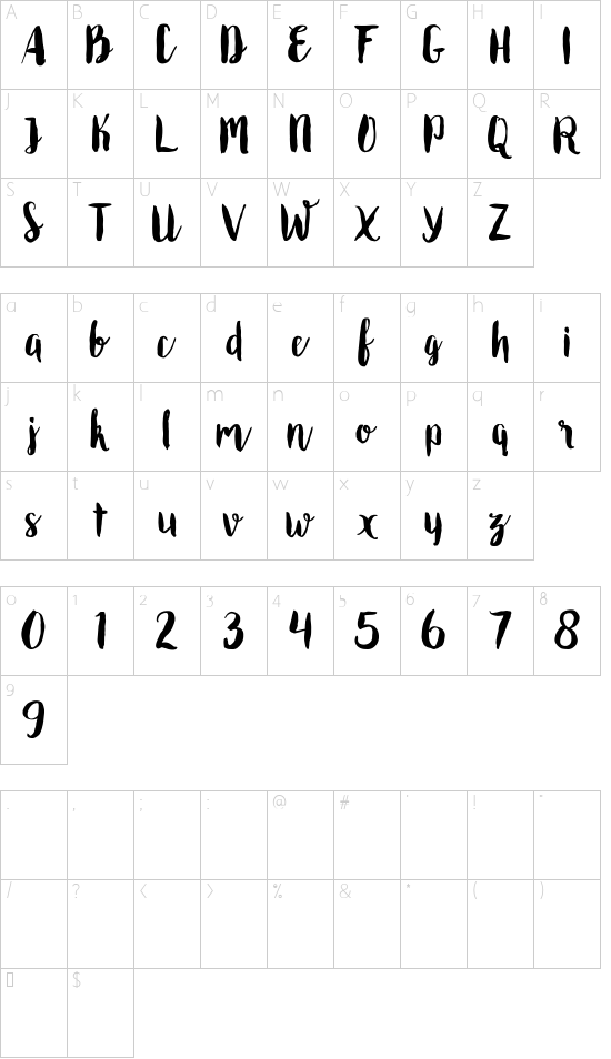 Roomfer font character map
