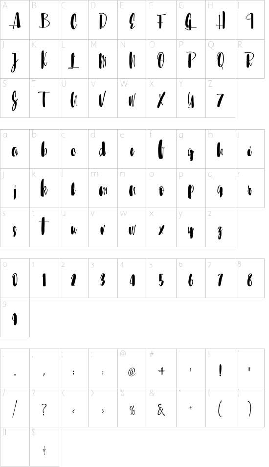 Sunbreath Regular font character map