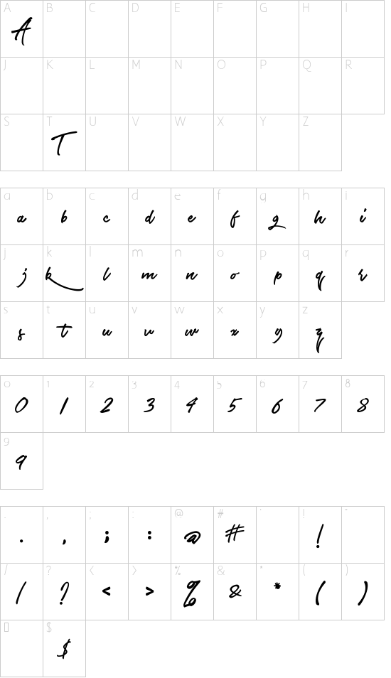 ETF The Airlines font character map