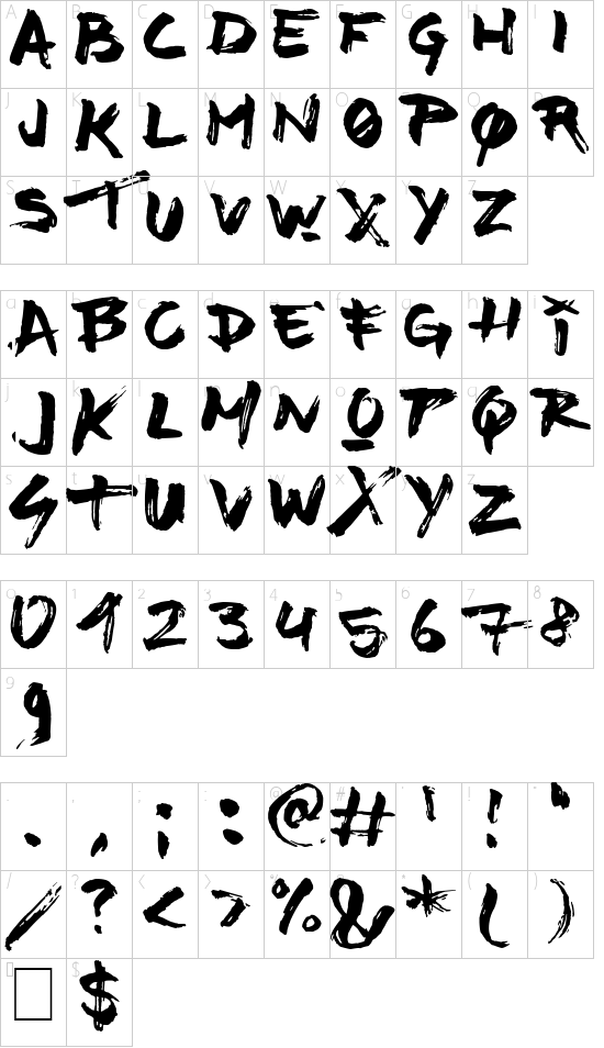 Time Machino font character map