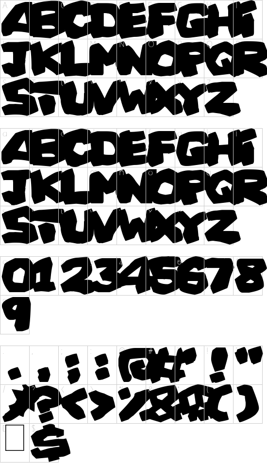 Prehistoric Caveman font character map