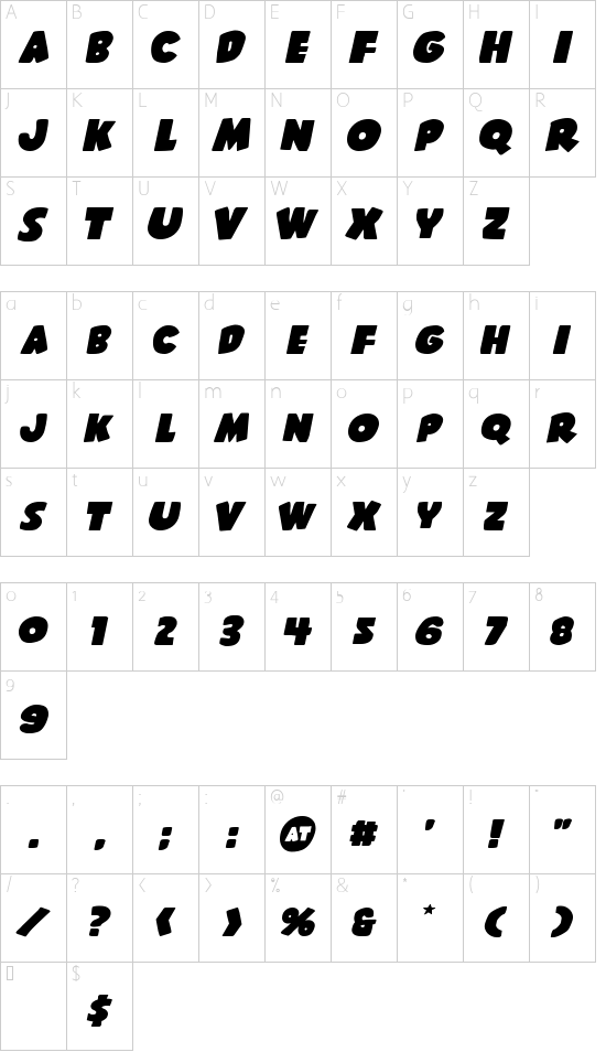 Shablagoo Expanded Italic font character map