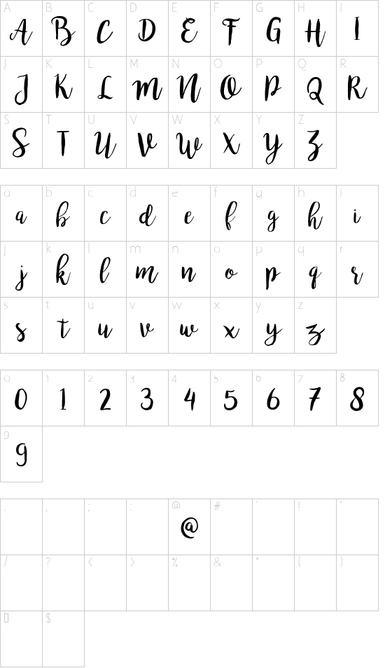 bromello font character map