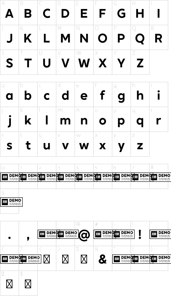XXII Geom DEMO Bold font character map