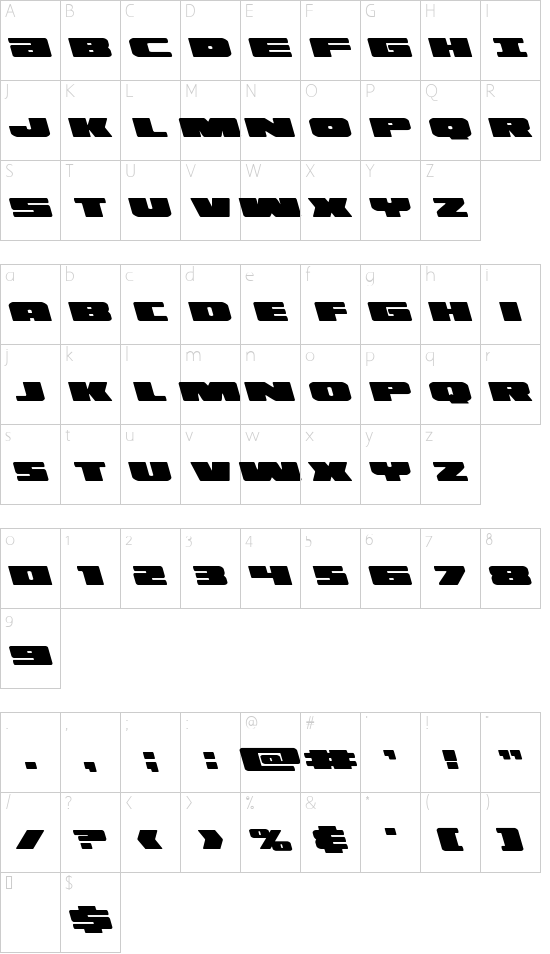 Illumino Leftalic font character map