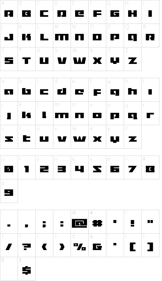 Turbo Charge font character map