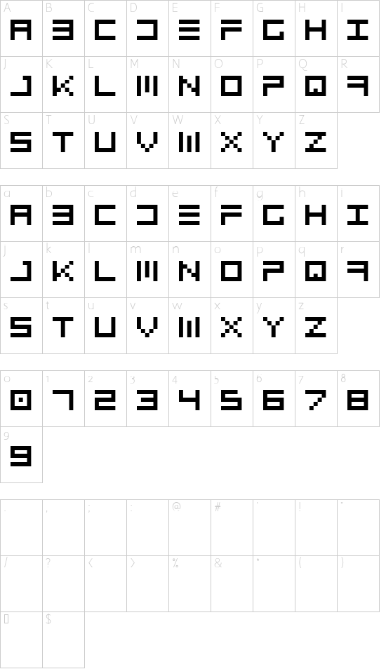 Topo font character map
