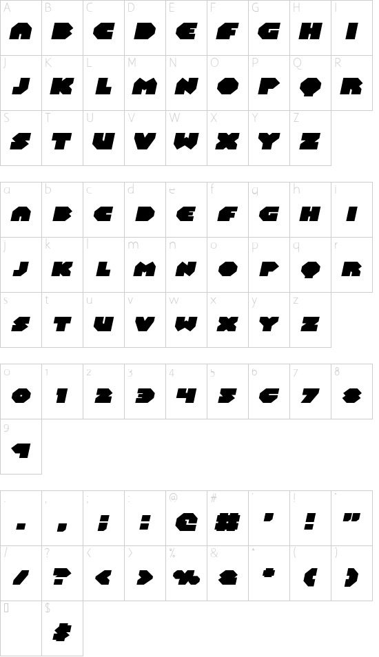 Bal-Astaral Expanded Italic font character map