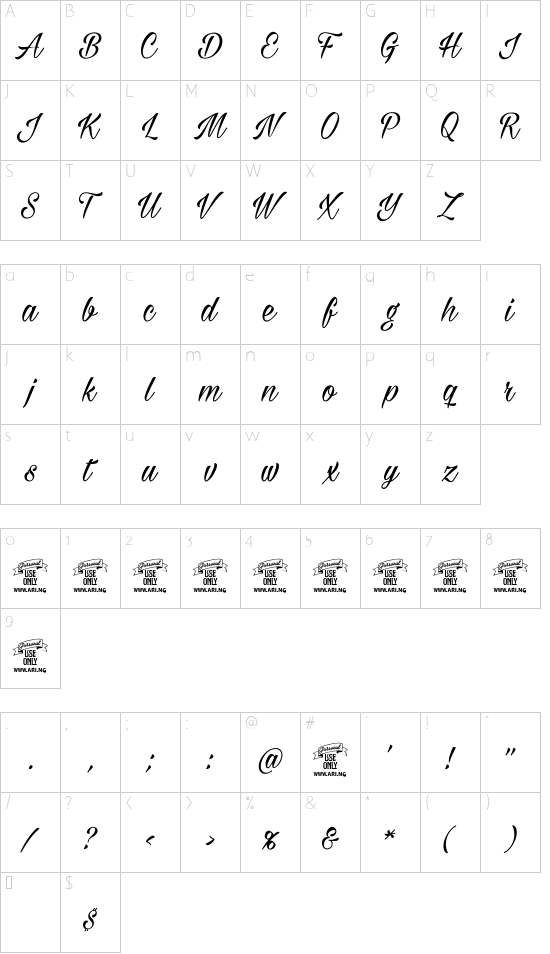 Milasian PERSONAL font character map