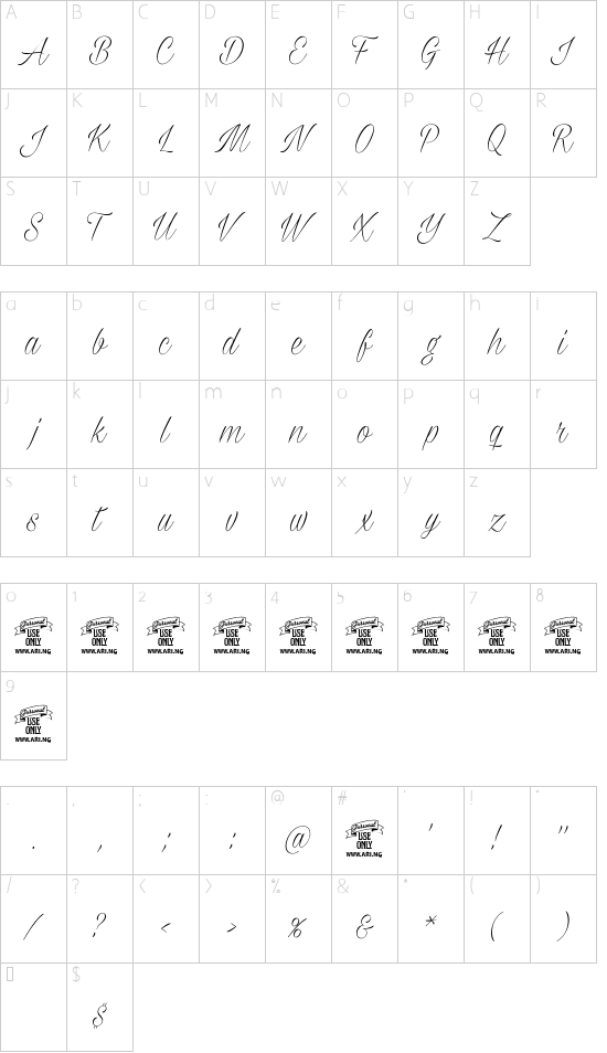 Milasian Thin PERSONAL font character map