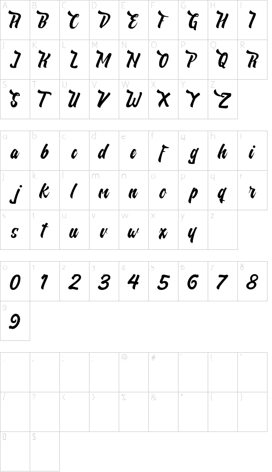 Nelda Free font character map
