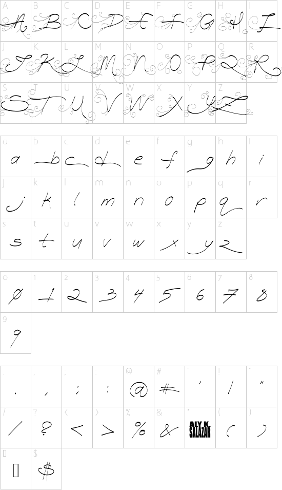 Turn Back Time font character map
