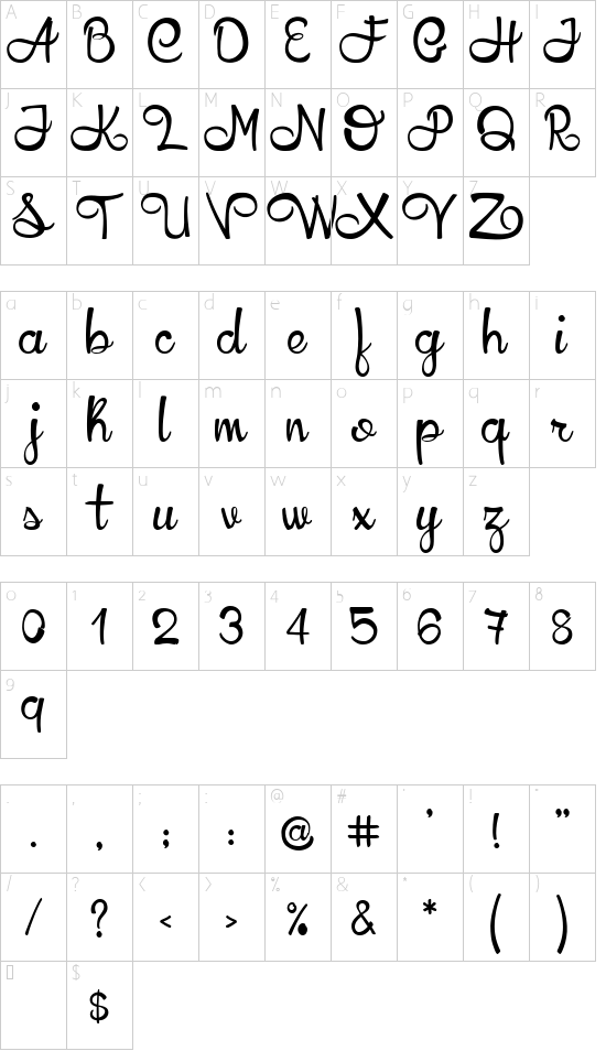 YellowLlama font character map