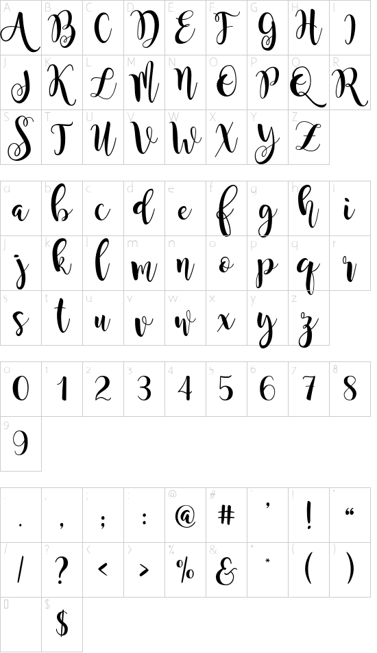 Magnolia Sky font character map