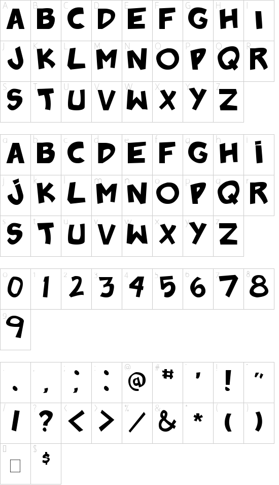 badonk-a-donk2 font character map