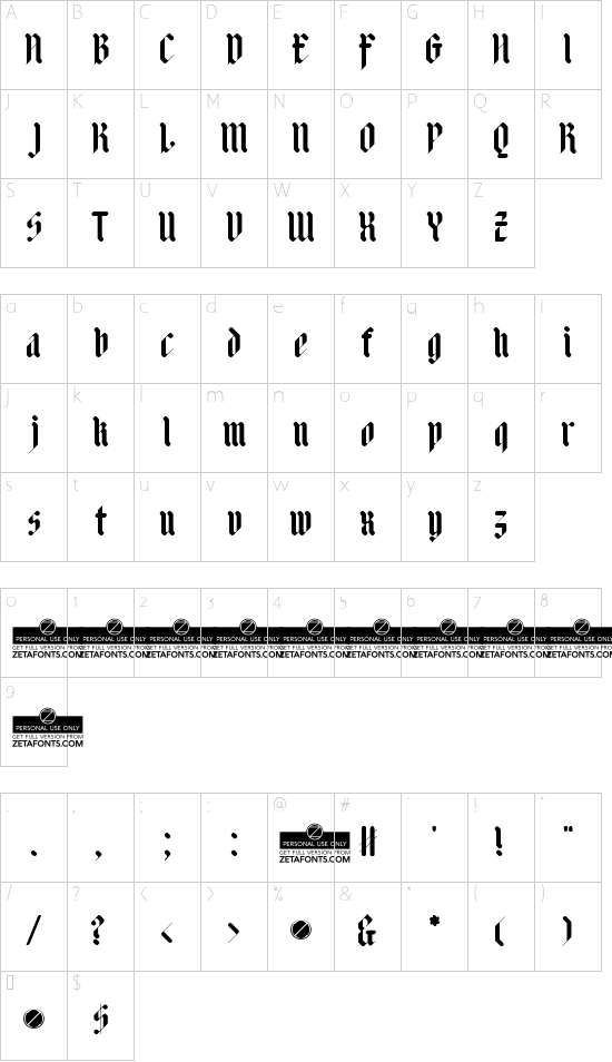 Adlibitum Bold font character map