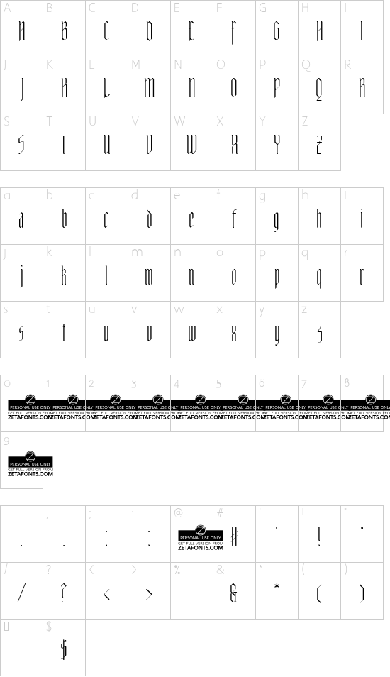 Adlibitum Light font character map
