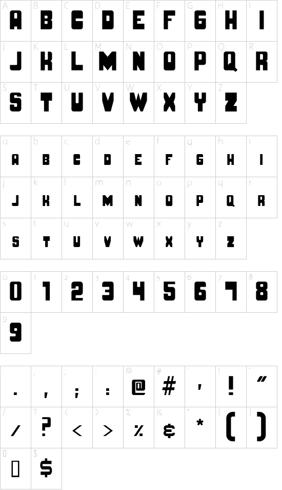 BRUTO MAYUSCULA font character map