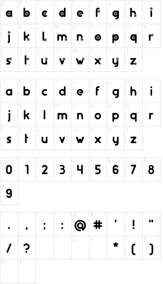 artifice.rs font character map