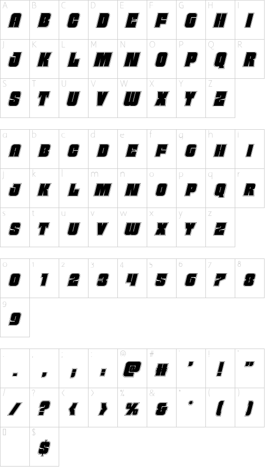 Funk Machine Academy Italic font character map
