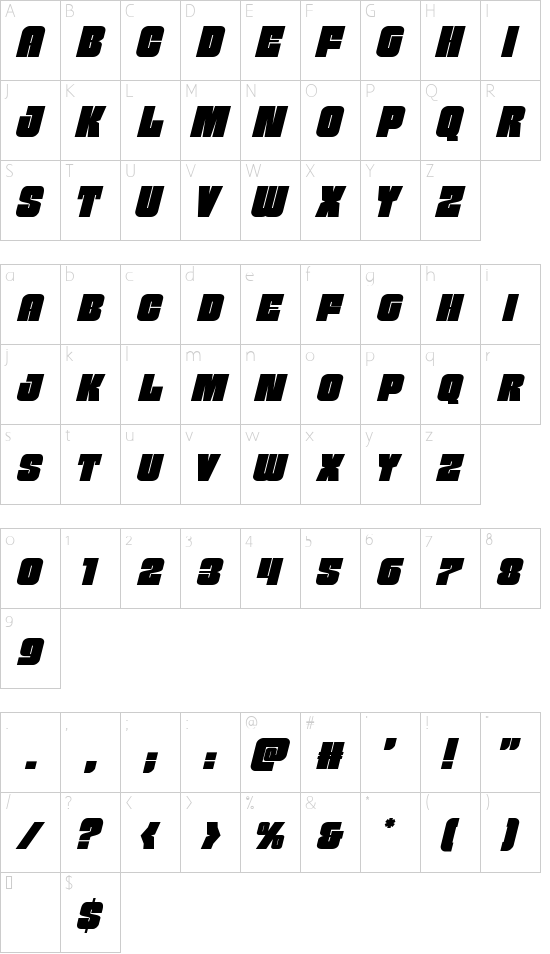 Funk Machine Italic font character map