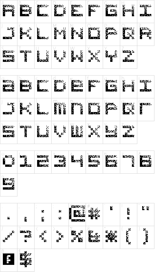 Hacked CRT Regular font character map
