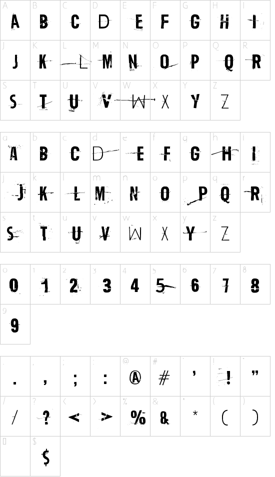 Trash Zydego font character map