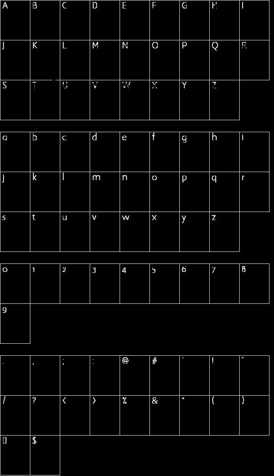 DJB HappilyEverAfter font character map