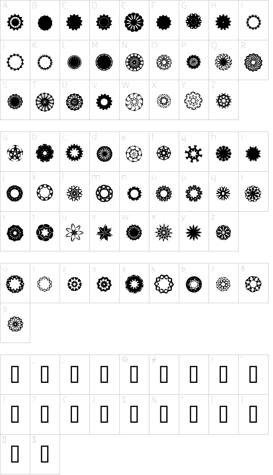 ASorionTW font character map