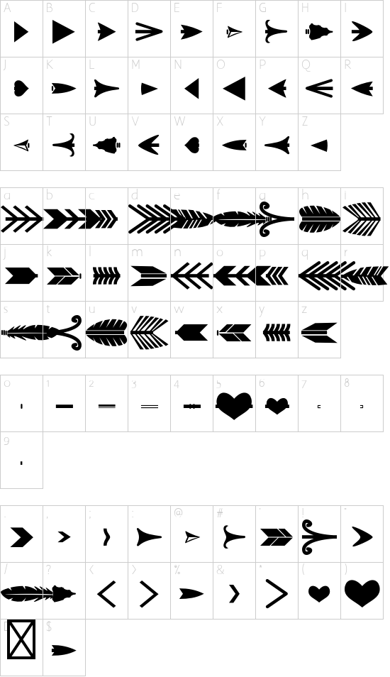 Arrow Crafter font character map