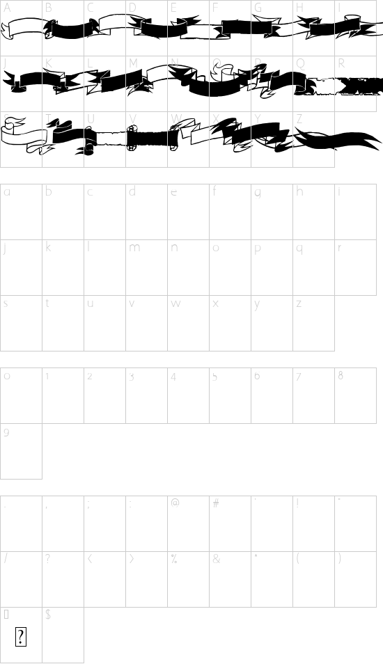 Black & White Banners font character map