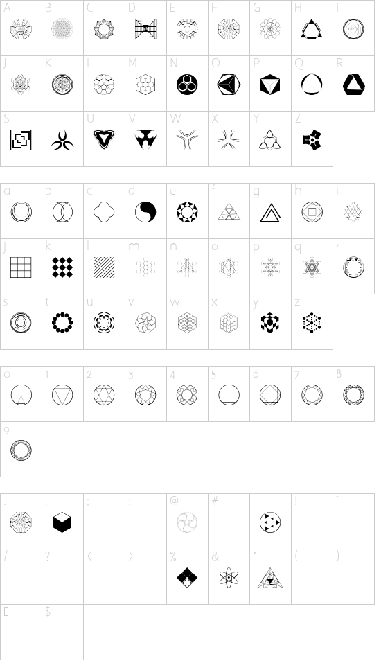 Constructing Kiai font character map