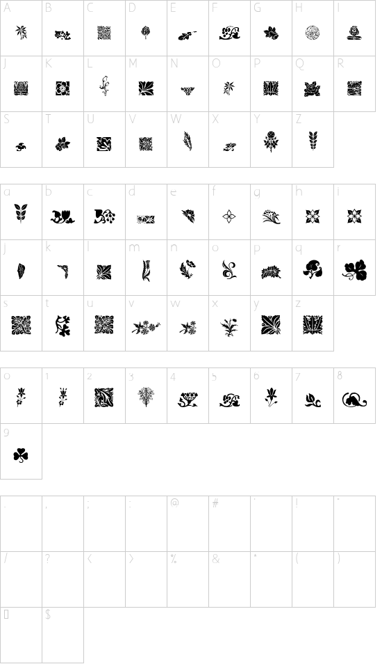 Rough Flowers Regular font character map